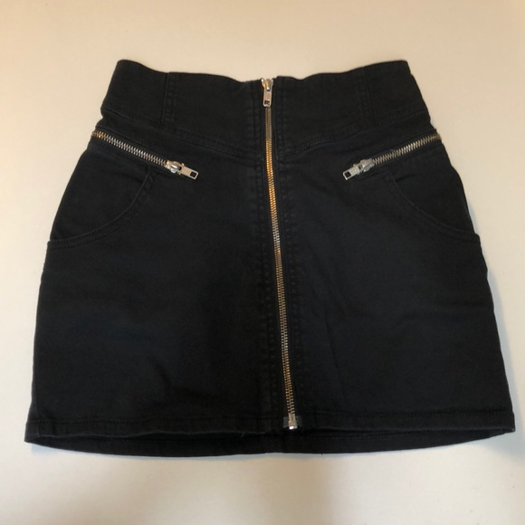 a5def2459 H&M Skirts | Black Denim Skirt With Zippers Size 2 Xs | Poshmark